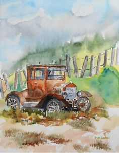 """""""Rest Stop""""  Watercolor 9"""" x 12""""  Blue Ribbon (1st place) Artist of the Month, Campbell Artist Guild June, 2013"""