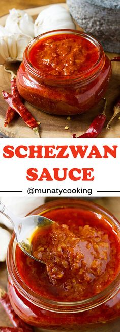 Schezwan Sauce. A delicious and fiery red chili sauce recipe. Learn how to make schezwan sauce the easy way and start making amazing Schezwan fried rice, schezwan noodles, or use it as a dip and make your favorite finger food tastier. www.munatycooking.com | @munatycooking.