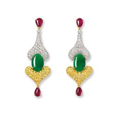 PAIR OF JADEITE, RUBY, YELLOW DIAMOND AND DIAMOND PENDENT EARRINGS, ICE