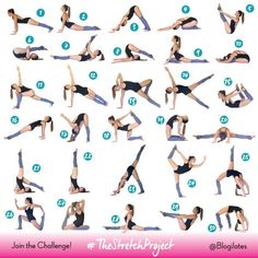 Easy Yoga Workout - The Stretch Project – 30 day flexibility challenge! Still working on the splits. Get your sexiest body ever without,crunches,cardio,or ever setting foot in a gym Dance Stretches, Stretches For Flexibility, Flexibility Workout, Cheerleading Flexibility Stretches, Cheer Stretches, Gymnastics Stretches, Splits Stretches, Leg Stretching, Fitness Workouts