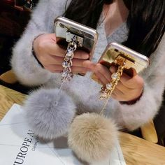 Pearl Bling Chain Real Fur Ball Mirror Case For iPhone 4/4s/5/5s/6/6S/6 Plus/6s Plus/SE/7/7 Plus