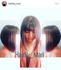 Dramatic Aline bob with straight across bangs  by hairby_mari