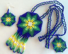 Mexican Huichol Beaded Star Necklace and earrings set by Aramara