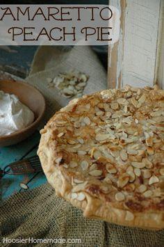 Amaretto Peach Pie Recipe :: HoosierHomemade.com Peach Pie Recipes, Tart Recipes, Sweet Recipes, Cooking Recipes, Pie Dessert, Dessert Recipes, Just Desserts, Delicious Desserts, Thanksgiving Recipes