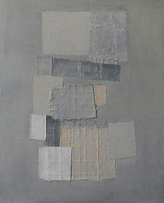 "Kinuko Imai Hoffman   My Song Acrylic, paper, canvas cloth, and pumice on canvas, 48"" x 37"""