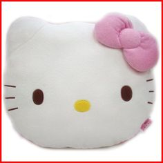 99722f11a A fun Hello Kitty pillow in the shape of Hello Kitty's head with a pink bow