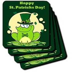 Happy St. Patricks Day Frog with Irish Top Hat Coasters