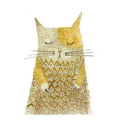 "Art print - Portrait of a Cat - digital print of original watercolor - 16"" x 11"" on Etsy, $35.00"