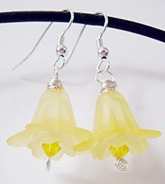 Yellow Lucite Beaded Daffodil Earrings, $7 by snowingstars on #zibbet