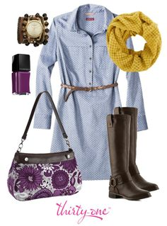 """Thirty One Bag Gift Personalize  The Suite Skirt Purse in Plum Awesome Blossom really pops against the yellow infinity scarf in this casual cute outfit. The best part....you can change the skirt to match whatever you're wearing!  Easy to coordinate & easy to clean! www.mythirtyone.com/KAS22 Click on """"Place an Order"""" to shop our secure site"""