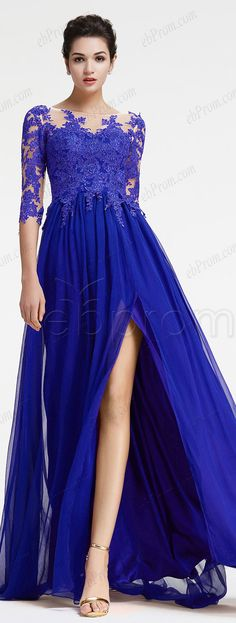Royal blue evening dress long sleeves modest formal dresses plus size evening gown with slit
