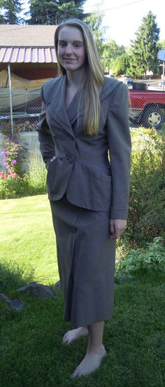 Vintage 40s Bedell Suit Taupe Tan Jacket Skirt by TallulahsVintage, $40.00