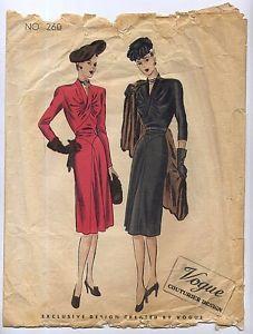 B34-034-ORIGINAL-1940-039-s-40s-Vintage-Vogue-Couturier-Dress-Sewing-Pattern-260