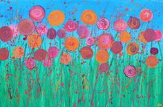 Gallery For > Pink Flowers Painting