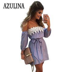 AZULINA 플러스 사이즈 탄성 섹시한 오프 숄더 블루 스트라이프 미니 드레스 여성 소녀 캐주얼 짧은 흰색 아플리케 파티 드레스 벨트