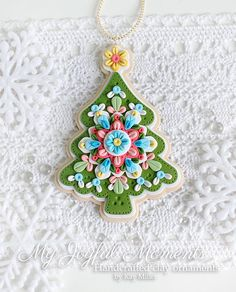 Handcrafted Polymer Clay Christmas Tree Medallion Ornament