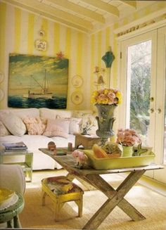 Yellow stripe walls