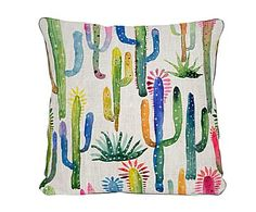 "Poduszka dekoracyjna ""Watercolor Cactus"", 45 x 45 x 5 cm Watercolor Fabric, Watercolor Cactus, Fabric Painting, Cactus Cushion, Cactus Fabric, Fabric Paint Designs, Bright Art, Colorful Drawings, Bedding"