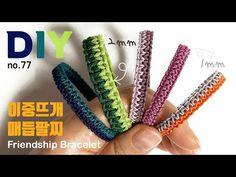 이중뜨개 매듭팔찌 만들기💗Knitting kont bracelet 幸運手環 Pulsera de nudo マクラメブレスレット| soDIY #77 - YouTube Macrame Jewelry, Macrame Bracelets, Rope Crafts, Crochet Bracelet, Macrame Tutorial, Handmade Jewelry Designs, Micro Macrame, Band, Friendship Bracelets