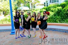 Rainbow themed bridesmaids! Love this idea <3 Credits go to Andrew and Hali Ducote :D