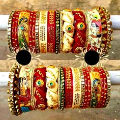 Rajwadi twisted bridal bangle set with Raja Rani and peacock design, best bridal bangle set designs, chooda for bride , personalized bridal bangle set. Bridal Bangles, Wedding Jewelry, Wedding Chura, Wedding Hair, Chuda Bangles, Bridal Chuda, Rajputi Jewellery, Bangle Set, Ankle Bracelets