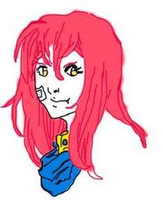 karla: cor do cabelo forma do cabelo cor dos olhos band-aid na bochecha