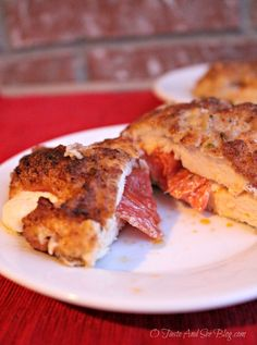 Pepperoni and Mozzarella Stuffed Chicken | http://otasteandseeblog.com/pepperoni-mozzarella-stuffed-chicken/