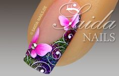 Tutorial butterfly on glitter dust Creative Nail Designs, Diy Nail Designs, Creative Nails, Butterfly Nail Designs, Butterfly Nail Art, Great Nails, Love Nails, Nail Ink, Nagel Hacks