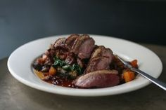 Smoked Duck Breast Recipe  With caramelized squash, onions, bacon & spinach