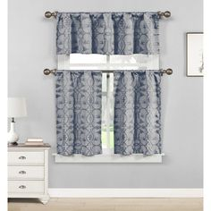 Duck River Dawn Birds Linen Jacquard 3 Piece Kitchen Curtain Set Indigo - DAKIN=12 /12518
