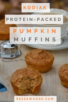 Looking for the perfect fall Kodiak recipe? These protein muffins are high in protein, low in fat and absolutely packed with pumpkin spice goodn Pumpkin Protein Muffins, Healthy Muffins, Healthy Baking, Healthy Desserts, Protein Powder Muffins, Low Fat Muffins, High Protein Muffins, Power Muffins, Protein Packed Breakfast