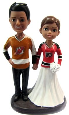 Quick Ship Hockey Wedding Cake Toppers are custom painted to resemble you!