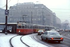 We're traveling back to Vienna, Austria, in We're guessing the photographer was primarily interested in shooting the Austrian capital's tram system but the shots make for gr… Remember The Time, Best Places To Live, Vienna Austria, My Childhood, Street View, City, 1970s, Shots, Traveling
