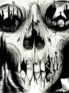 Black is such a happy color skull art