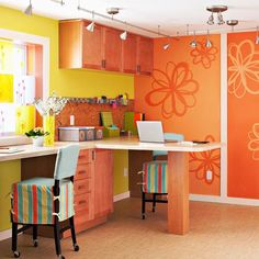 orange home office/craft room! Space Crafts, Home Crafts, Craft Space, Craft Desk, Family Crafts, Casa Soho, Basement Craft Rooms, Basement Office, Warm Color Schemes