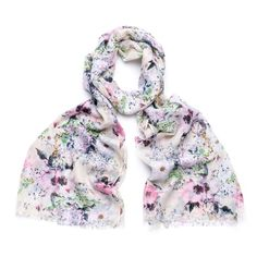 LADIES IVORY LILAC PINK PASTEL FLORAL PRINT SCARF WRAP WITH FEATHERED EDGE