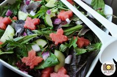 Salad with cute maple leave watermellon pieces!
