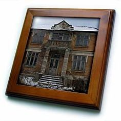 """Abandoned house in winter - 8x8 Framed Tile by 3dRose. $22.99. Cherry Finish. Keyhole in the back of frame allows for easy hanging.. Solid wood frame. Inset high gloss 6"""" x 6"""" ceramic tile.. Dimensions: 8"""" H x 8"""" W x 1/2"""" D. Abandoned house in winter Framed Tile is 8"""" x 8"""" with a 6"""" x 6"""" high gloss inset ceramic tile, surrounded by a solid wood frame with pre-drilled keyhole for easy wall mounting."""
