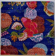 "Indian Kantha Stitch Cushion Cover - Dark Blue floral tropical 40 x 40cm 16"" $14.50"