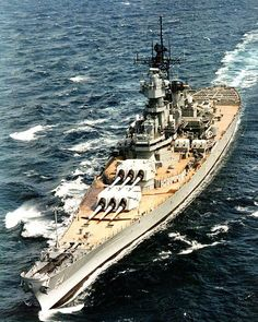 USS Wisconsin (BB-64). Underway at sea, circa 1988-91.
