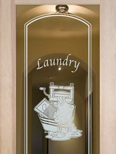 Thru the Wringer Laundry Room Door – Positive Effect Laundry Room Wallpaper, Laundry Room Doors, Laundry Room Signs, Laundry Room Storage, Frosted Glass Door, Couches For Sale, Cube Storage, Cool House Designs, Glass Design