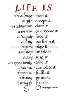 Life Is a Blessing Poem | Image of calligraphy P8-56 Life is a Challenge, a Gift, an Adventure
