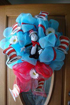 dr seuss characters | Dr. Seuss Character Poly Deco Mesh Wreath. $55.00 | Dr. Seuss