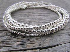 Silver Bead Bracelet Set, Silver Bracelet Set, Bead Bracelet Stack, Layer Bracelet, Bead Bracelet Women, Sterling Bracelets, Sterling Silver