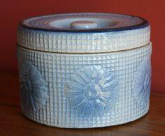 Antique Blue White Stoneware Butter or Salt Crock Daisy Trellis Waffle Weave  ~♥~
