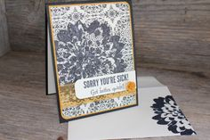 Definitely Dahlia Thinking of You Card also uses Stampin' Up! Fabulous Four stamp set
