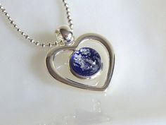 Royal Blue and Silver Fused Glass Necklace by bprdesigns on Etsy, $28.00
