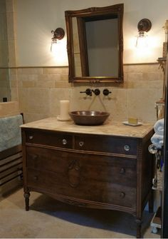 Found This Walnut Antique Dresser For Bathroom Vanity. Stripped And  Re Stained, New Travertine Counter, Added A Beautiful Copper Vessel Sink  With ...