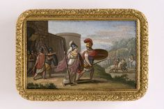 Snuffbox ca.1830, Austria. Gold, malachite, micromosaic.