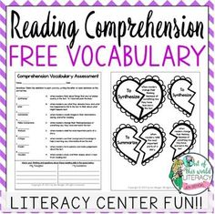 FREE reading comprehension fun for Valentine's or anytime!!  Students Match reading comprehension terms with definitions, then take a vocabulary quiz.